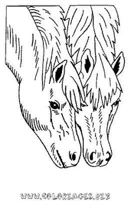Coloriage en ligne 2 chevaux gratuit animaux - Coloriage en ligne animaux ...