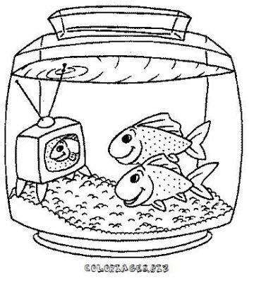 Dessin a colorier sur la tv - Dessin enfant poisson ...