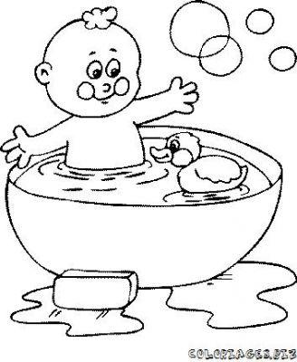 Coloriage Bain Bebe.Coloriages Bain Et Douche Se Laver Page 2 Famille Enfants Et Bebes