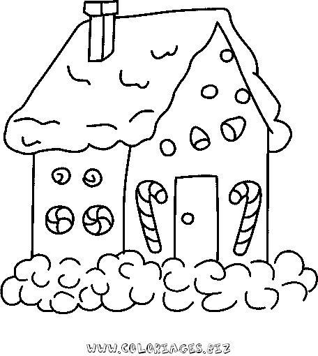 Coloriages gratuits - Dessin de maison de noel ...