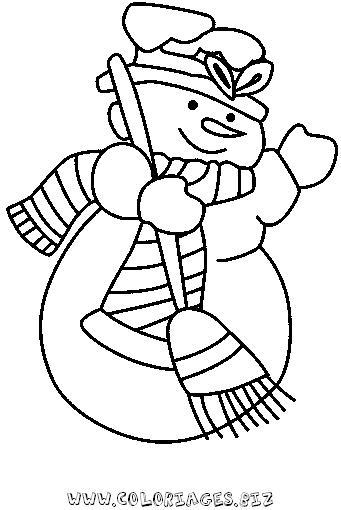 Coloriages gratuits - Dessin bonhomme de neige facile ...
