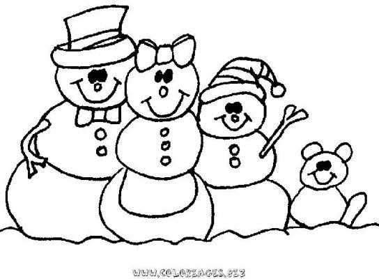 Coloriages bonhomme de neige page 1 noel - Dessin de neige ...
