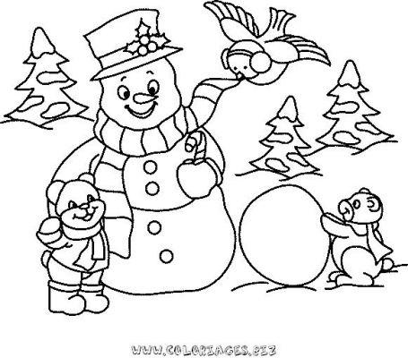 Coloriages bonhomme de neige page 1 noel - Coloriage de neige ...