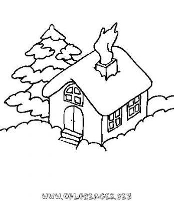 Coloriages chalets et maisons de noel et montagne page 1 - Dessin de chalet de montagne ...