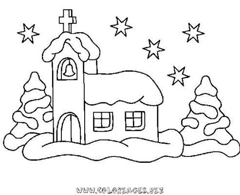 Coloriages chalets et maisons de noel et montagne page 3 noel - Village de noel dessin ...