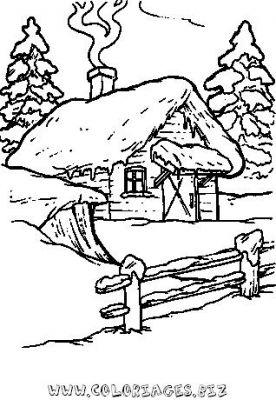 Coloriages chalets et maisons de noel et montagne page 3 noel - Dessin de chalet de montagne ...