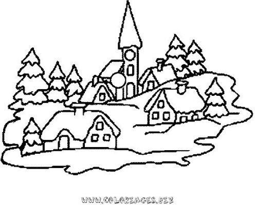 Coloriage en ligne chalets et maisons de noel et montagne - Coloriage village de noel ...