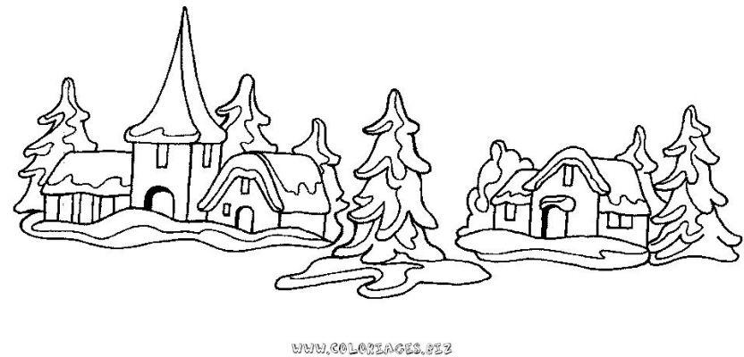 Coloriages chalets et maisons de noel et montagne page 1 noel - Village de noel dessin ...