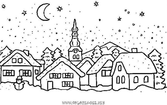 Coloriages Chalets Et Maisons De Noel Et Montagne Page 1 Chalets Et Maisons  De Noel Et Montagne
