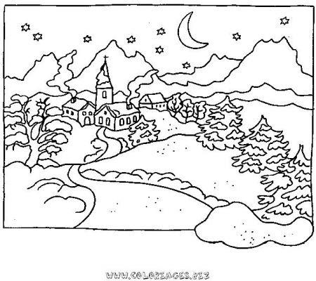 Coloriages chalets et maisons de noel et montagne page 1 noel - Dessin de chalet de montagne ...