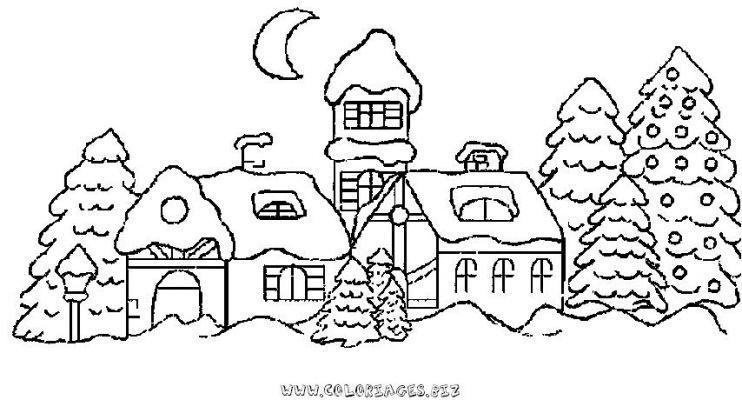Coloriages gratuits chalets et maisons de noel et montagne coloriage chalet noel 76 - Village de noel dessin ...