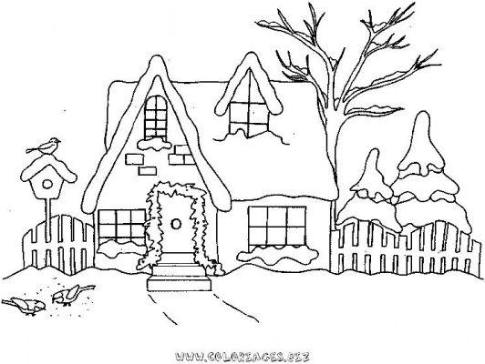 Coloriages chalets et maisons de noel et montagne page 1 noel - Coloriage village de noel ...