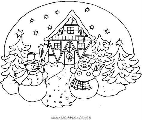 Coloriages chalets et maisons de noel et montagne page 1 chalets et maisons de noel et montagne - Village de noel dessin ...