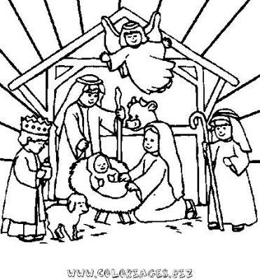 Coloriage En Ligne Les Amis De La Creche De Noel Gratuit