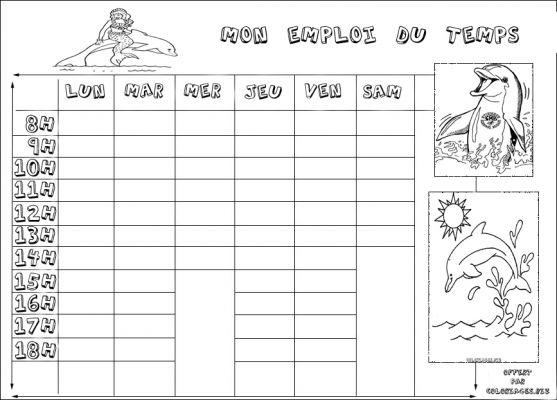 coloriages emploi du temps pour la rentrée page 1 la rentrée des