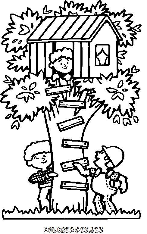 Cabane coloriage - Dessin de cabane ...