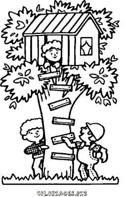 Coloriage en ligne coloriage enfant cabane dans l 39 arbre - Dessin cabane ...