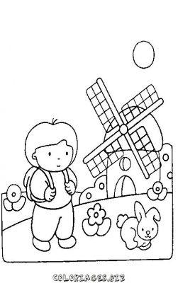 Coloriages gratuits enfants coloriage enfant garcon moulin - Coloriage enfant garcon ...