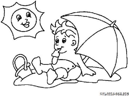 Enfants sur plage dessins - Coloriage de plage ...