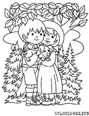 Coloriage en ligne coloriage enfant amoureux gratuit - Coloriage en ligne enfant ...