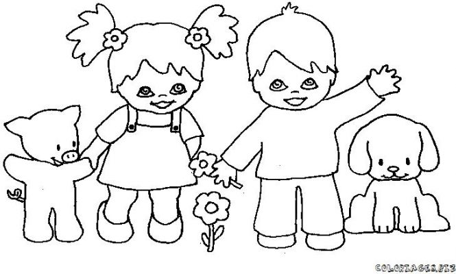 Enfants Coloriage Enfant Dit Bonjour