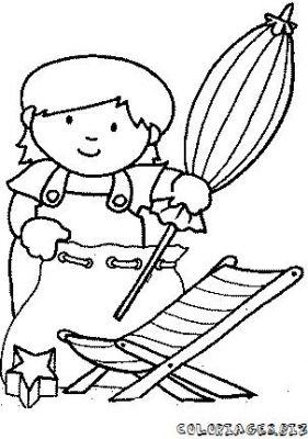 Coloriage en ligne coloriage enfant la plage avec un - Dessin parasol ...