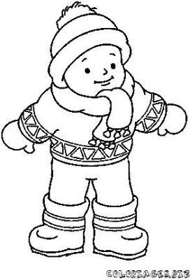 coloriage en ligne Coloriage enfant à la neige gratuit   Famille