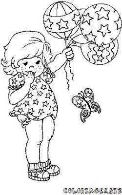 Coloriage coloriage enfant fillette avec des ballons gratuit famille enfants et b b s - Coloriage fillette ...