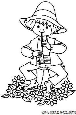 Coloriage en ligne coloriage enfant fait de la flute - Dessin de flute ...