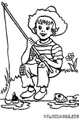 Coloriage en ligne coloriage enfant la peche gratuit - Dessin pecheur ...