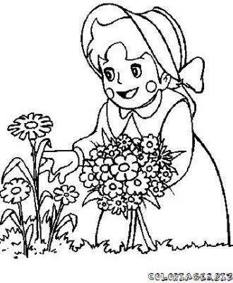 Coloriage en ligne coloriage enfant avec une fleur gratuit - Coloriage en ligne enfant ...