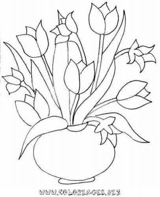 Bouquet De Fleur Coloriage.Bouquet De Fleurs De Printemps Dessin