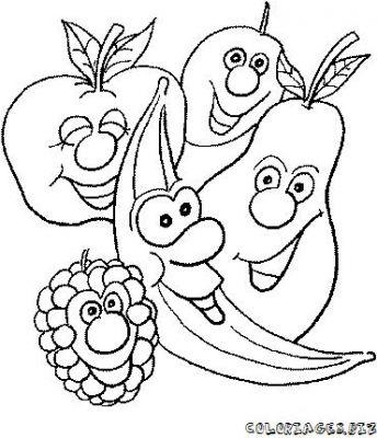 coloriages fruits et légumes rigolos page 4 printemps
