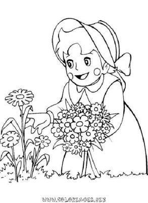 Coloriage En Ligne Heidi Cueille Des Fleurs Gratuit Héros