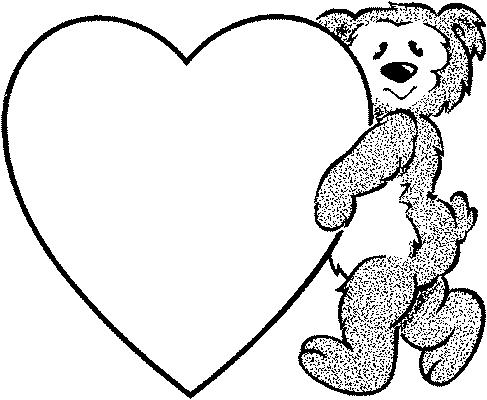Dessin nounours avec un coeur - Dessin de coeur a colorier ...