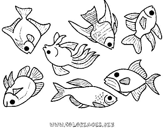 Coloriages mer et poissons page 1 animaux - Coloriage poissons ...