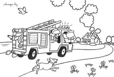 Coloriages pompiers page 1 m tiers - Dessin d un camion de pompier ...