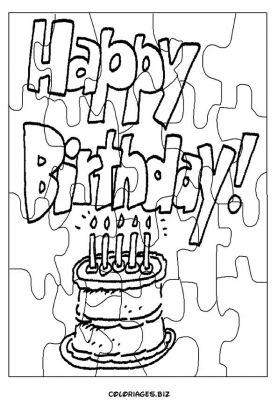coloriage Découpage Puzzle anniversaire gratuit - Découpages ...