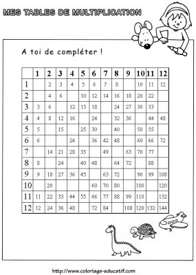 Coloriages gratuits tables de multiplication tables de for Table de multiplication exercice